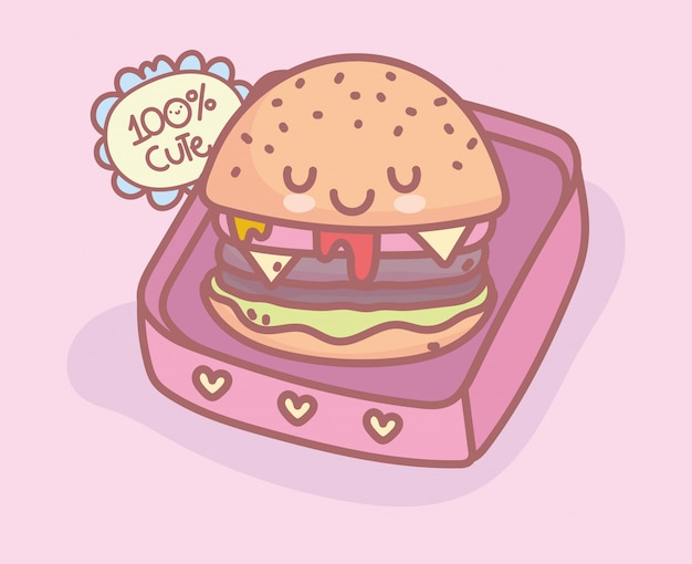 Burger à emporter menu alimentaire restaurant dessin animé mignon