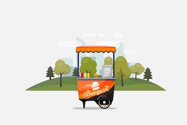Burger fast food card isolé, kiosque sur roues, vente au détail, petit déjeuner rapide, déjeuner, illustration illustrée et style plat.