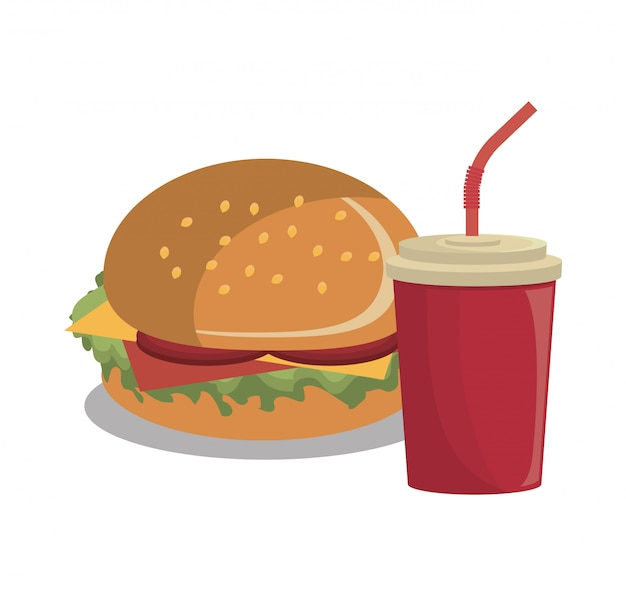 Burger fast-food design isolé