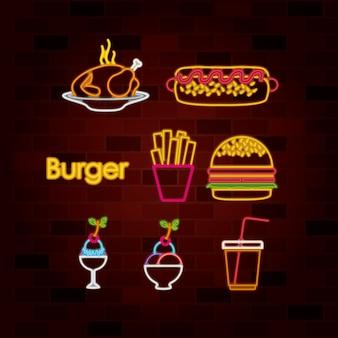 Burger et fast-food ensemble de néon sur mur de briques