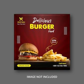 Burger fast food publication sur les réseaux sociaux