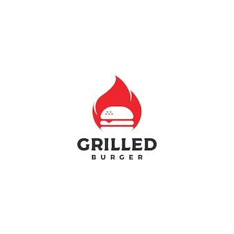 Burger avec feu, vecteur de conception de logo de hamburger grillé