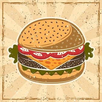 Burger sur fond avec des textures rétro