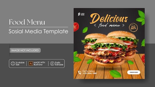 Burger food sosial promotion des médias et modèle de conception instagram