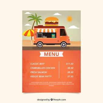 Burger food truck menu sur la plage