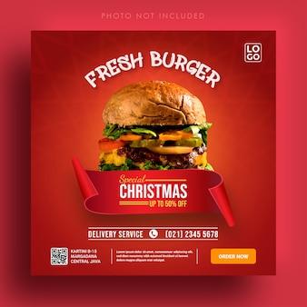 Burger Frais Spécial Vente De Noël Modèle De Bannière Publicitaire Sur Les Médias Sociaux Vecteur Premium