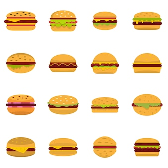 Burger icons set