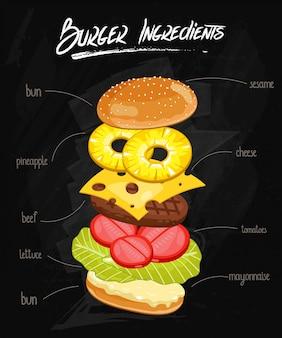 Burger ingrédients sur le tableau