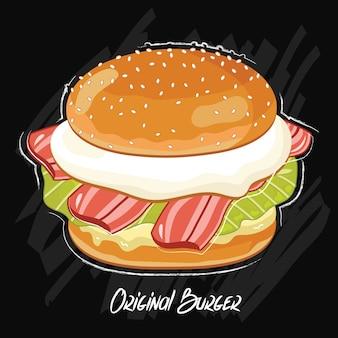 Burger isolé sur fond noir