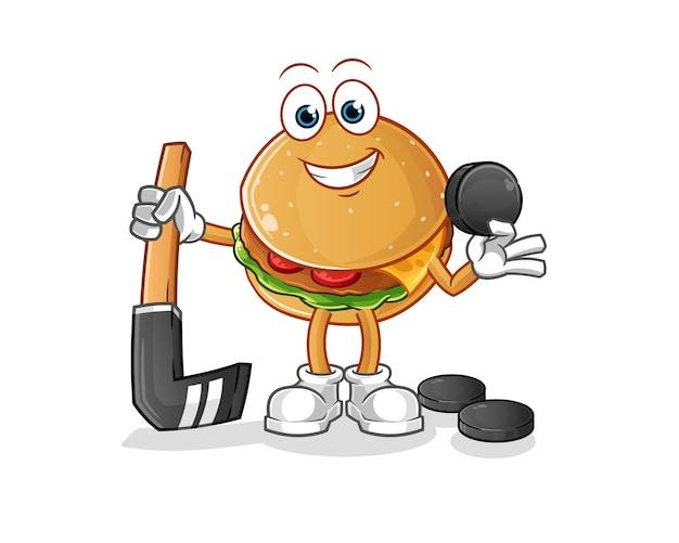 Burger jouant au hockey. personnage de dessin animé