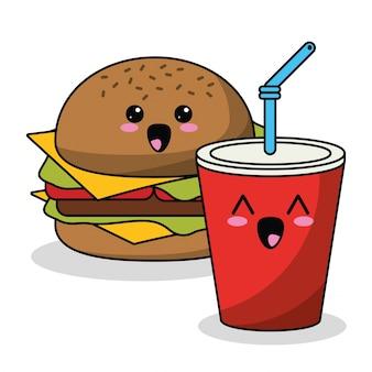 Burger kawaii et image de soda