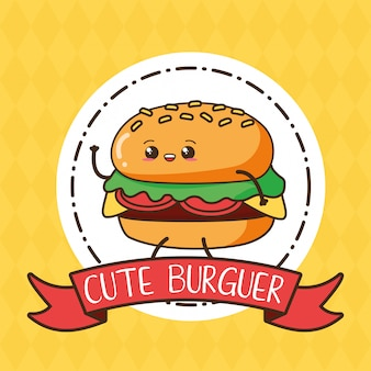 Burger kawaii mignon sur étiquette, design alimentaire, illustration