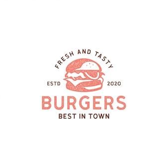 Burger Logo Vintage Rétro Hipster Timbre Autocollant Design Vecteur Premium