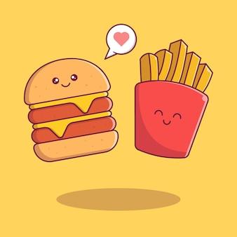 Burger mignon et frites souriant avec des personnages de dessins animés plats d'amour.