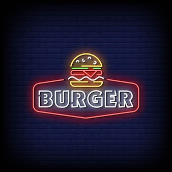 Burger neon signs style texte