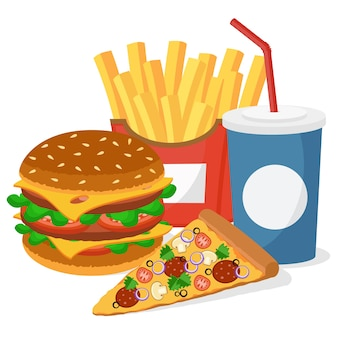 Burger, pizza, frites et un verre sur blanc.