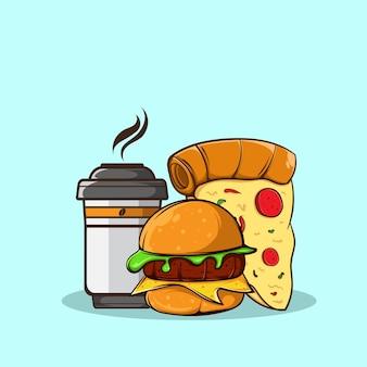 Burger pizza et illustration vectorielle de tasse à café