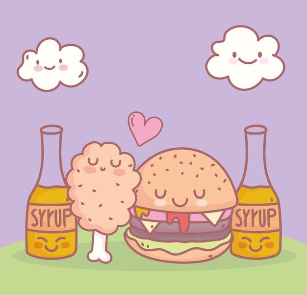 Burger poulet sirop menu restaurant alimentaire dessin animé