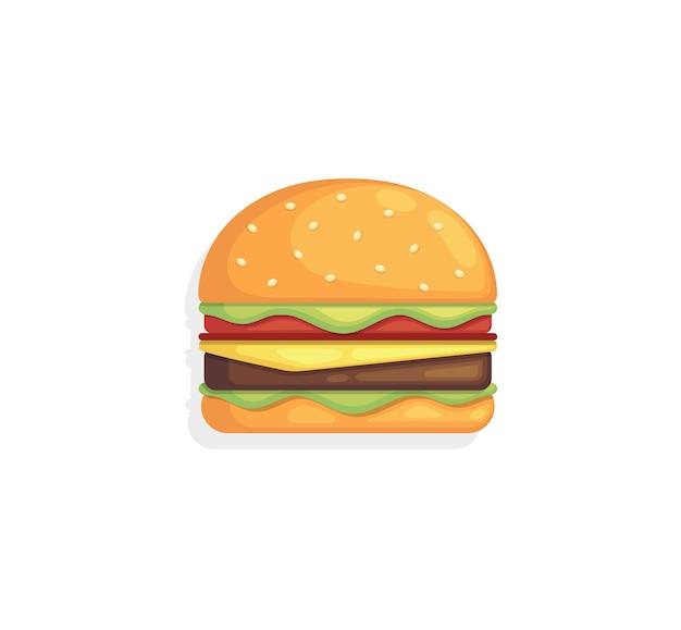 Burger avec salade de viande au fromage isolé sur fond blanc