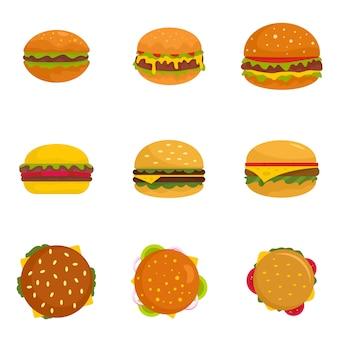 Burger sandwich pain chignon icônes définies