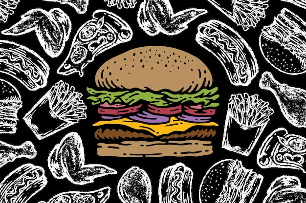 Burger sur tableau avec illustration d'élément de restauration rapide
