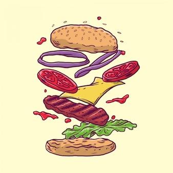 Burger avec viande flottante et légumes dessinés à la main