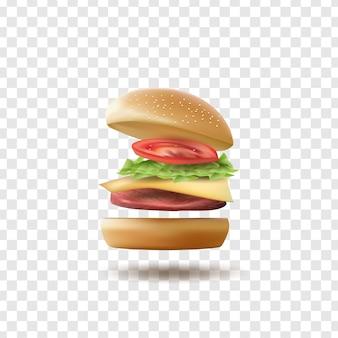 Burger volant réaliste isolé sur fond transparent.