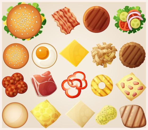 Burgers ensemble vue de dessus ingrédients petits pains fromage bacon tomate oignon laitue