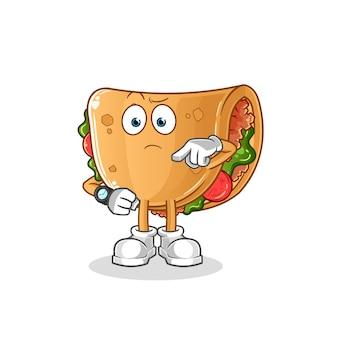 Burrito avec dessin animé de montre-bracelet. mascotte de dessin animé