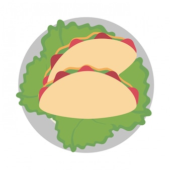 Burritos sur plat avec de la laitue