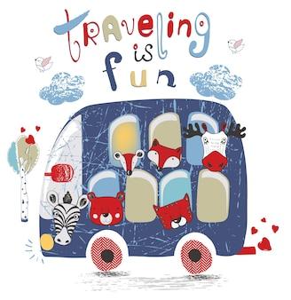 Bus bleu avec animalfox tigre ours elkmoosehand dessiné illustration vectorielle peut être utilisé pour enfant