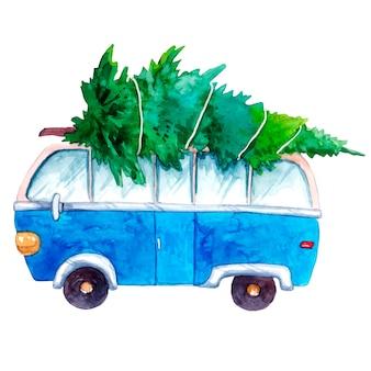 Bus hippie bleu voiture rétro avec un arbre de noël sur le dessus