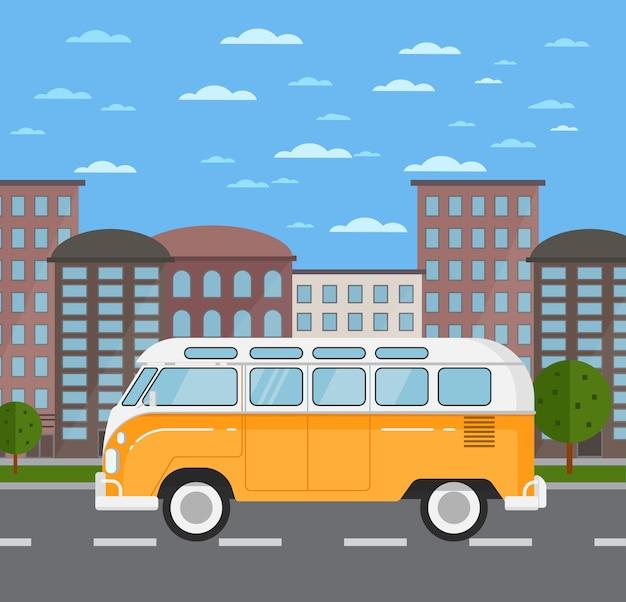 Bus rétro classique dans un paysage urbain