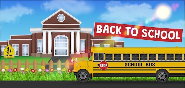 Bus scolaire et retour à l'école devant le drapeau de l'école