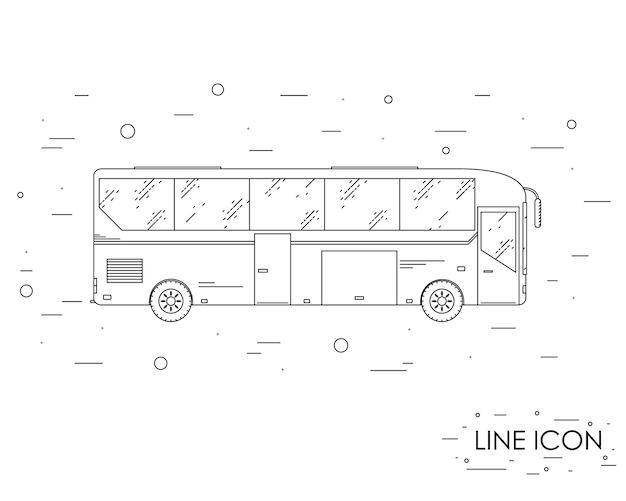Bus touristique. style linéaire. bus touristique d'icône. le trajet en bus. vue de côté. transport public. illustration vectorielle.