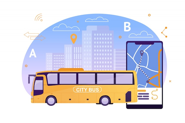 Bus de ville avec application cartographique sur téléphone mobile.