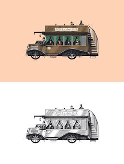 Bus vintage avec des touristes à deux étages vieux transport rétro voiture de tourisme britannique rétro monochrome