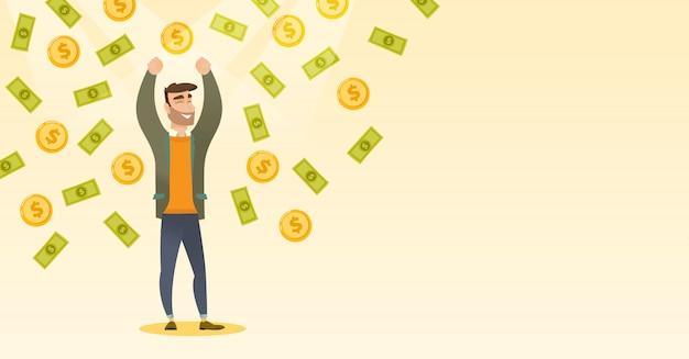 Busiessman heureux sous une pluie d'argent.