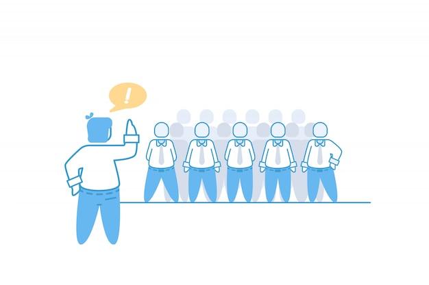 Businesaman et illustration de concept de briefing