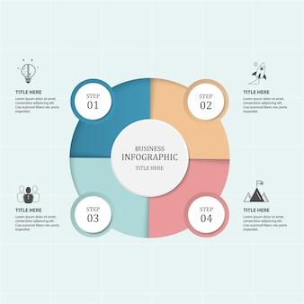 Business 4 étapes processus infographie avec des cercles d'étape.