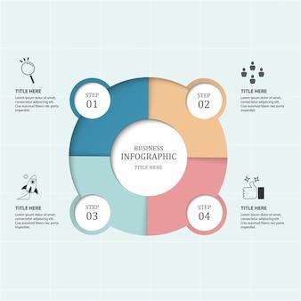 Business 4 processus infographie avec des cercles d'étape.