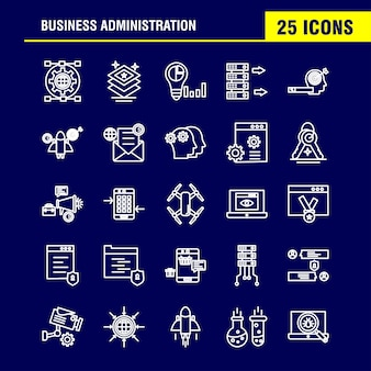 Business administration line icons set