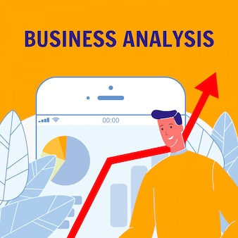 Business analysis flat vector poster avec texte