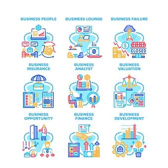 Business analyst set icônes illustrations vectorielles. business analyst people and lounge zone, échec et assurance, évaluation et finance, opportunité et développement illustrations en couleur