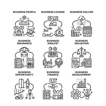 Business analyst set icônes illustrations vectorielles