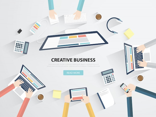 Business, bureau et bureau, plat, plat, illustration vectorielle