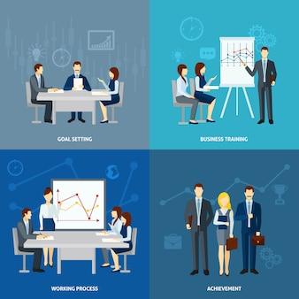 Business coaching 4 carrés icônes carré