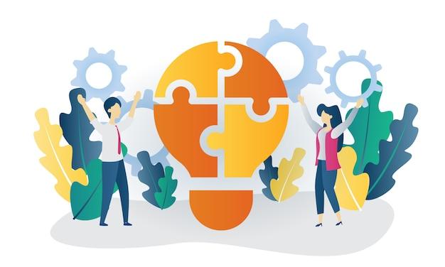 Business concept construire idée plate illustration