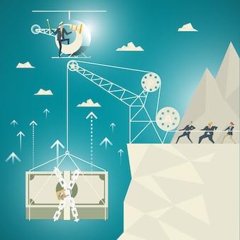 Business concept, une équipe de professionnels pour aider à tirer parti des billets de banque. en haut du bas de l'abîme