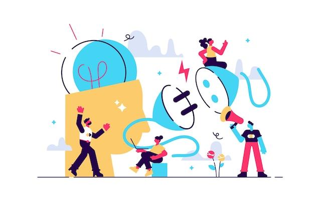 Business concept illustration connexion réseau brainstorming ampoule s'allume comme une idée créative charge du cerveau